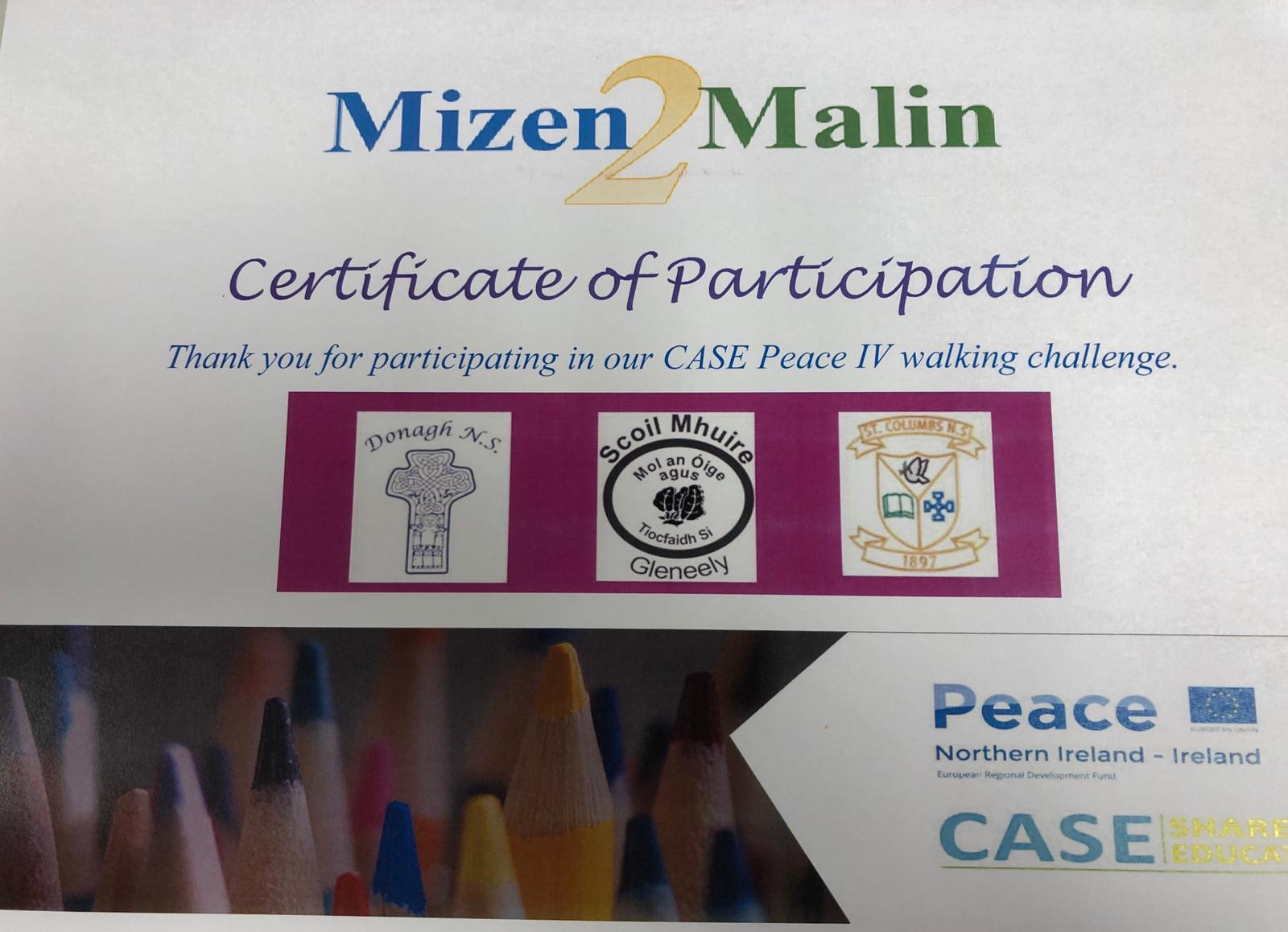 Certificate of Participation in walking challenge